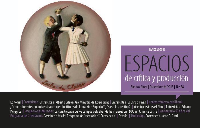Portada de la Edición Número 54 de la Revista Espacios de Crítica y Producción