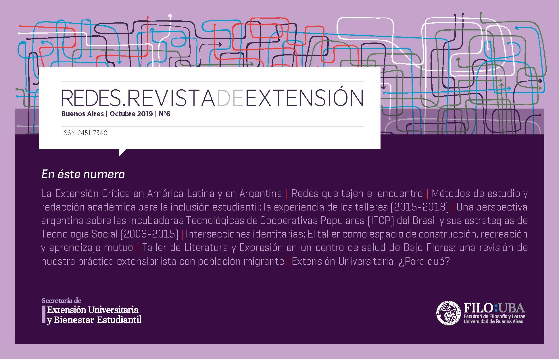 La imagen muestra la Portada de la Edición Número 6 de la Revista Redes de Extensión.